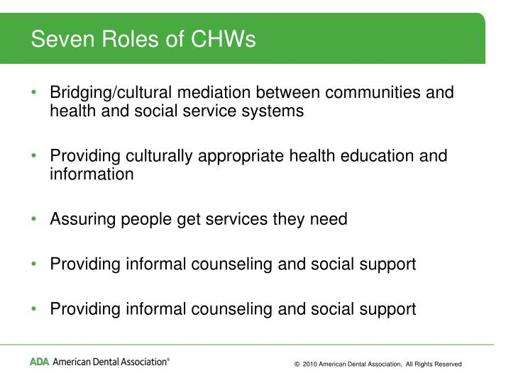Seven Roles of CHWs