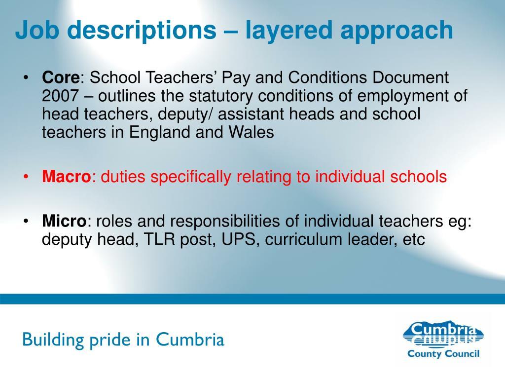 Job descriptions – layered approach