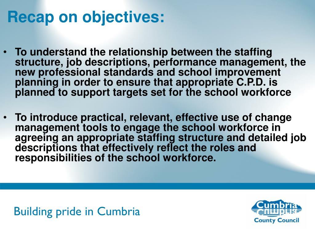 Recap on objectives: