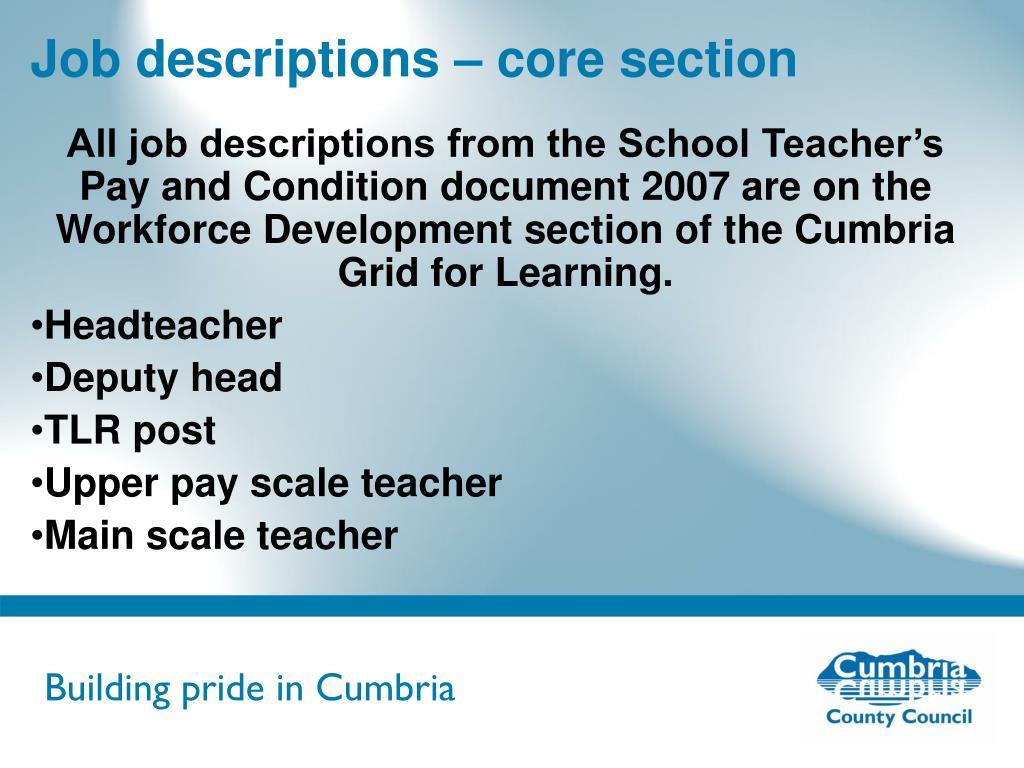 Job descriptions – core section
