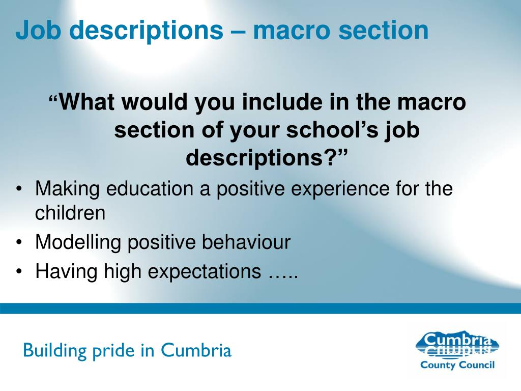 Job descriptions – macro section