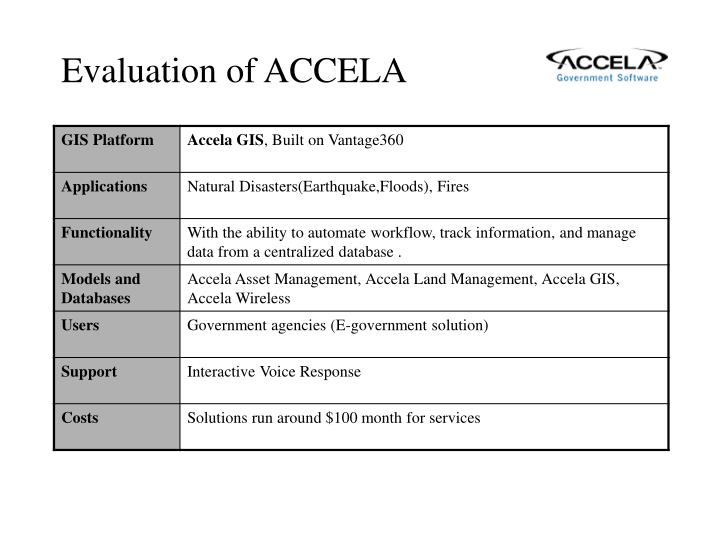 Evaluation of ACCELA