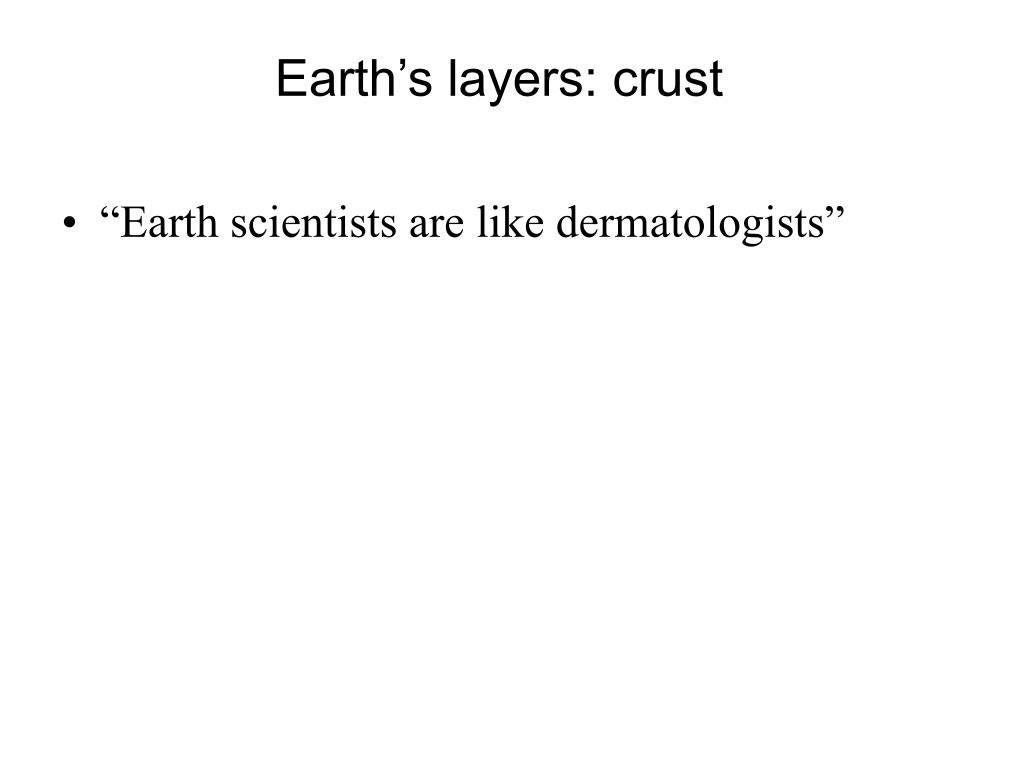 Earth's layers: crust