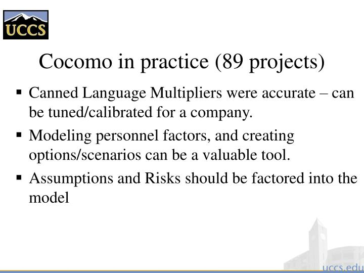 Cocomo in practice (89 projects)