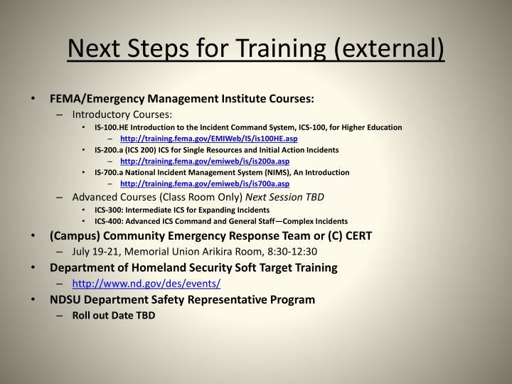 Next Steps for Training (external)