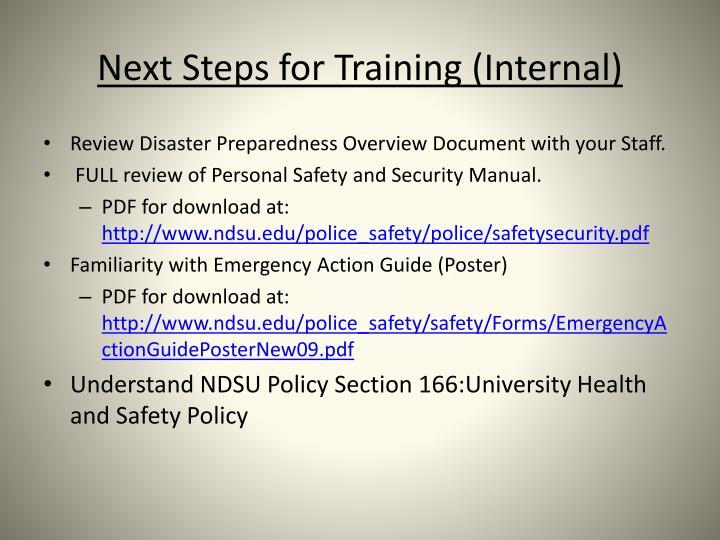 Next Steps for Training (Internal)
