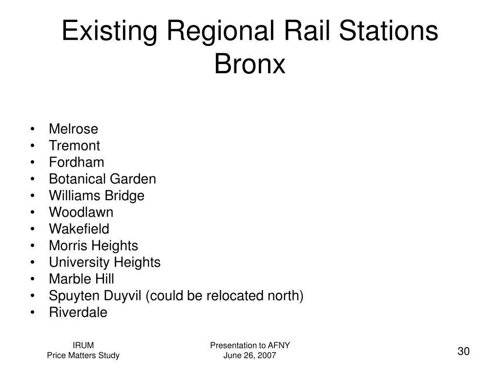 Existing Regional Rail Stations  Bronx