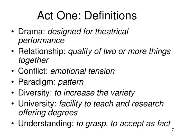 Act One: Definitions
