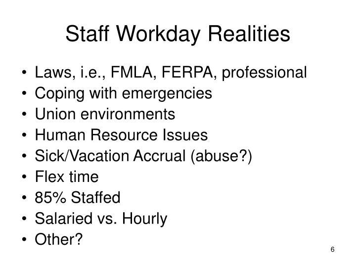Staff Workday Realities
