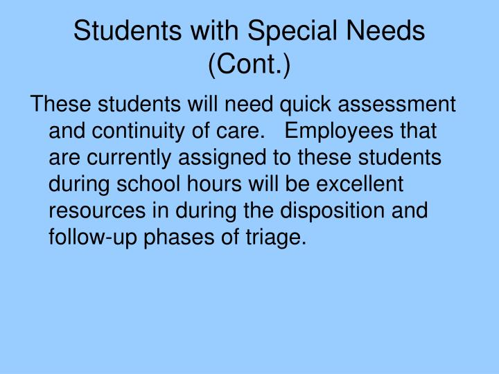 Students with Special Needs (Cont.)