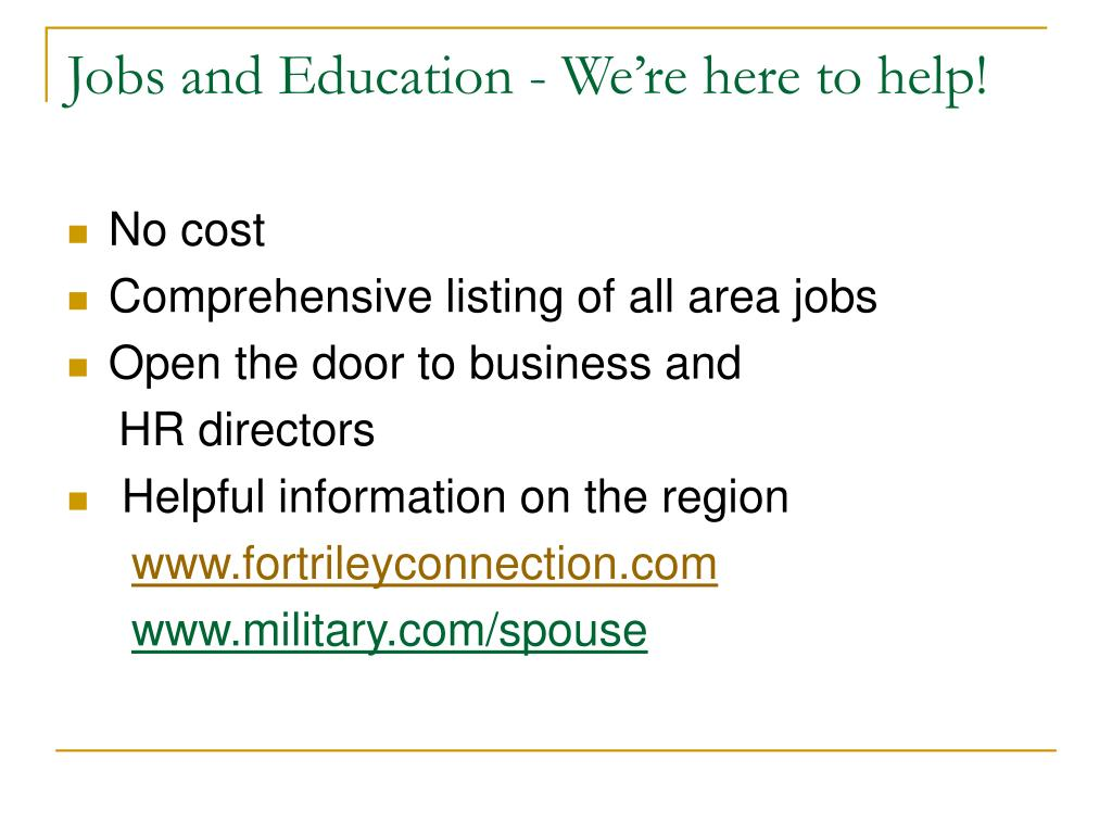 Jobs and Education - We're here to help!