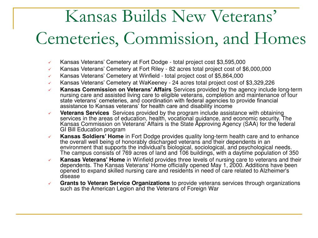Kansas Builds New Veterans' Cemeteries, Commission, and Homes