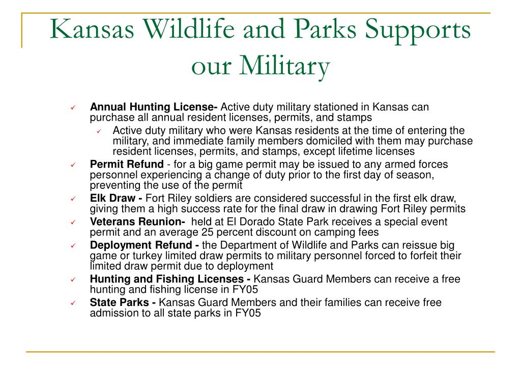 Kansas Wildlife and Parks Supports our Military