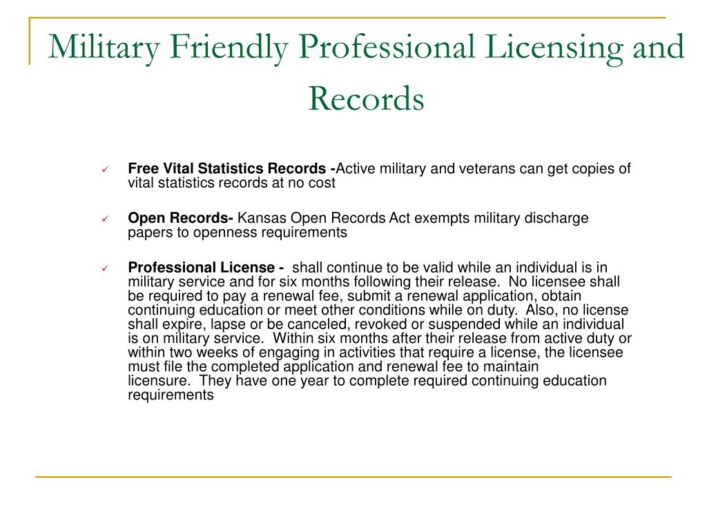 Military Friendly Professional Licensing and Records