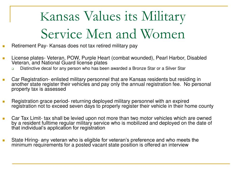 Retirement Pay- Kansas does not tax retired military pay