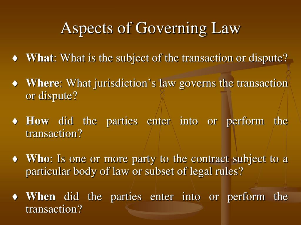 Aspects of Governing Law