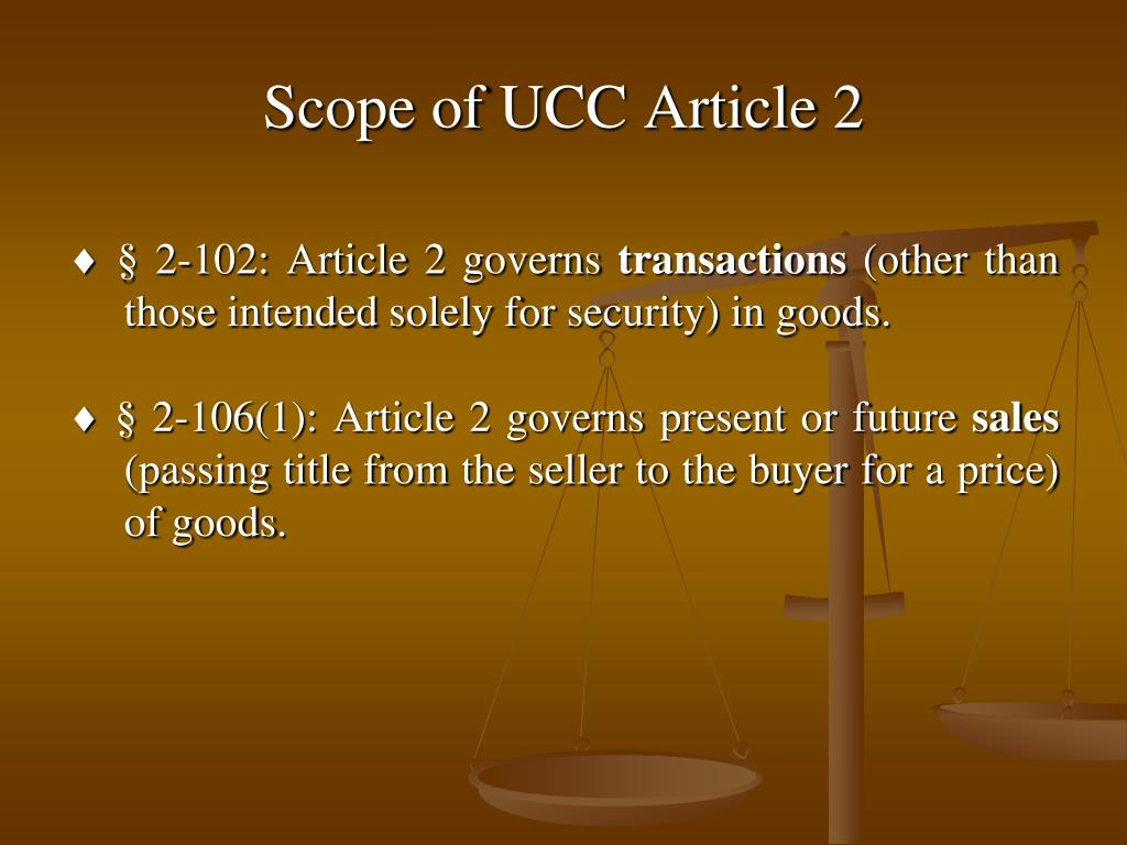 Scope of UCC Article 2