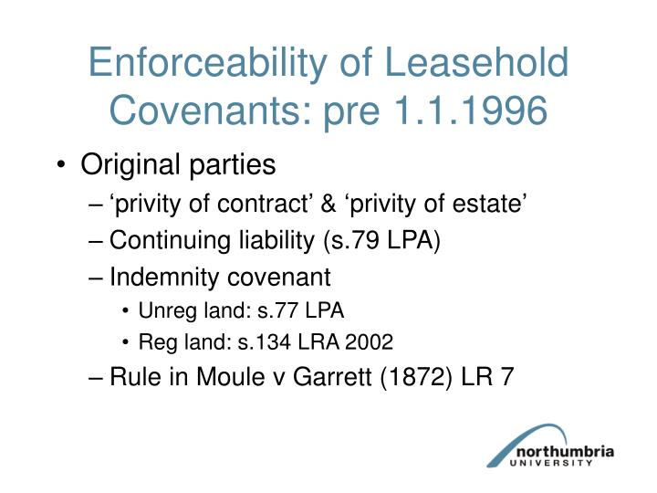 Enforceability of Leasehold Covenants: pre 1.1.1996