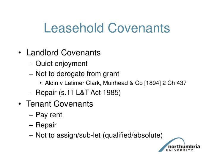 Leasehold Covenants