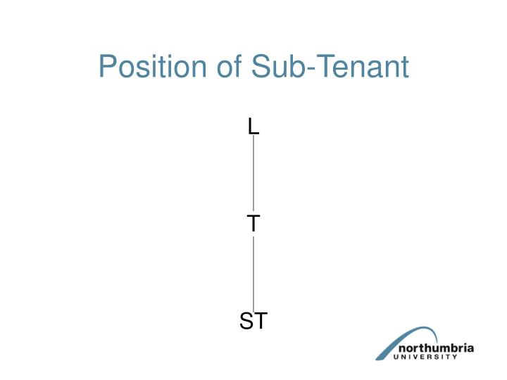Position of Sub-Tenant