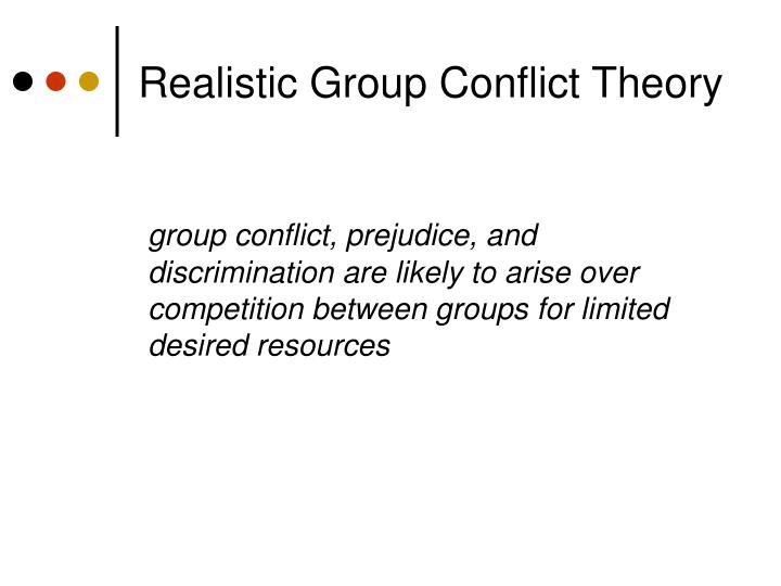 realistic group conflict and prejudice Realistic group conflict theory group conflict, prejudice, and discrimination  realistic conflict theory the robbers cave experiment (sherif et al 1961) a .