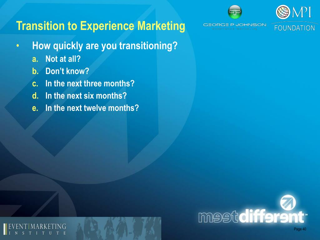 Transition to Experience Marketing