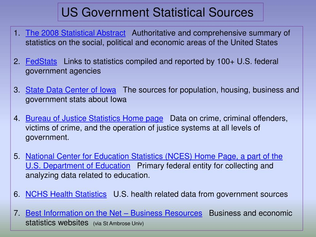 US Government Statistical Sources