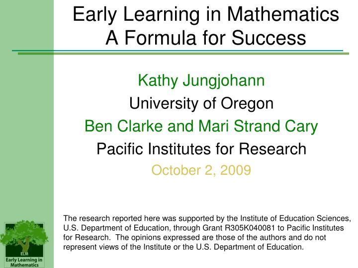 Early learning in mathematics a formula for success l.jpg