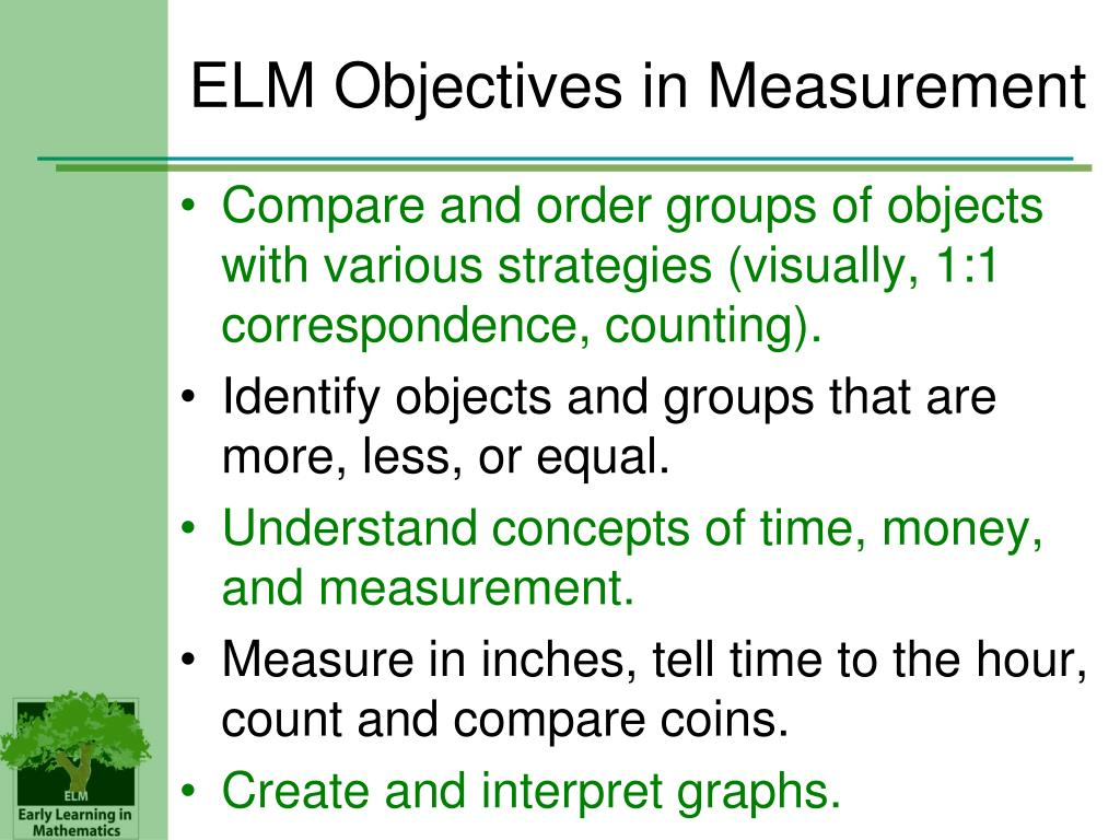 ELM Objectives in Measurement