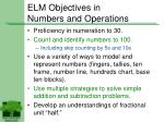 elm objectives in numbers and operations