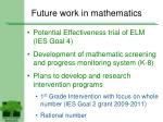 future work in mathematics
