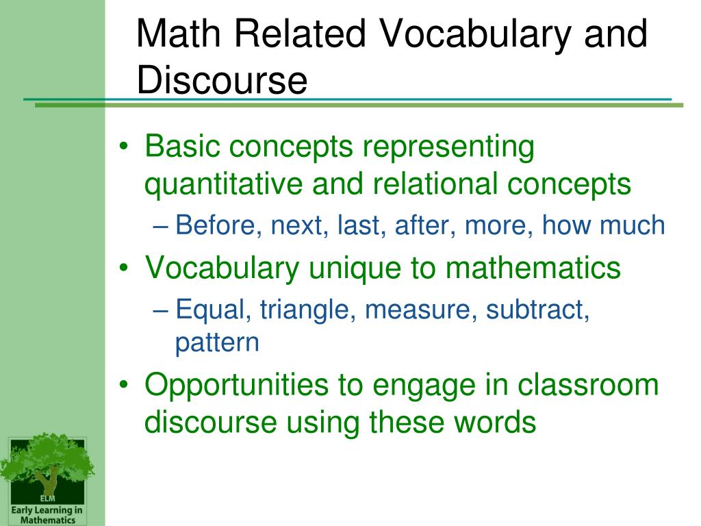 Math Related Vocabulary and Discourse