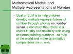 mathematical models and multiple representations of number