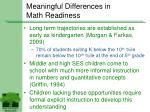 meaningful differences in math readiness