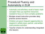 procedural fluency and automaticity in elm