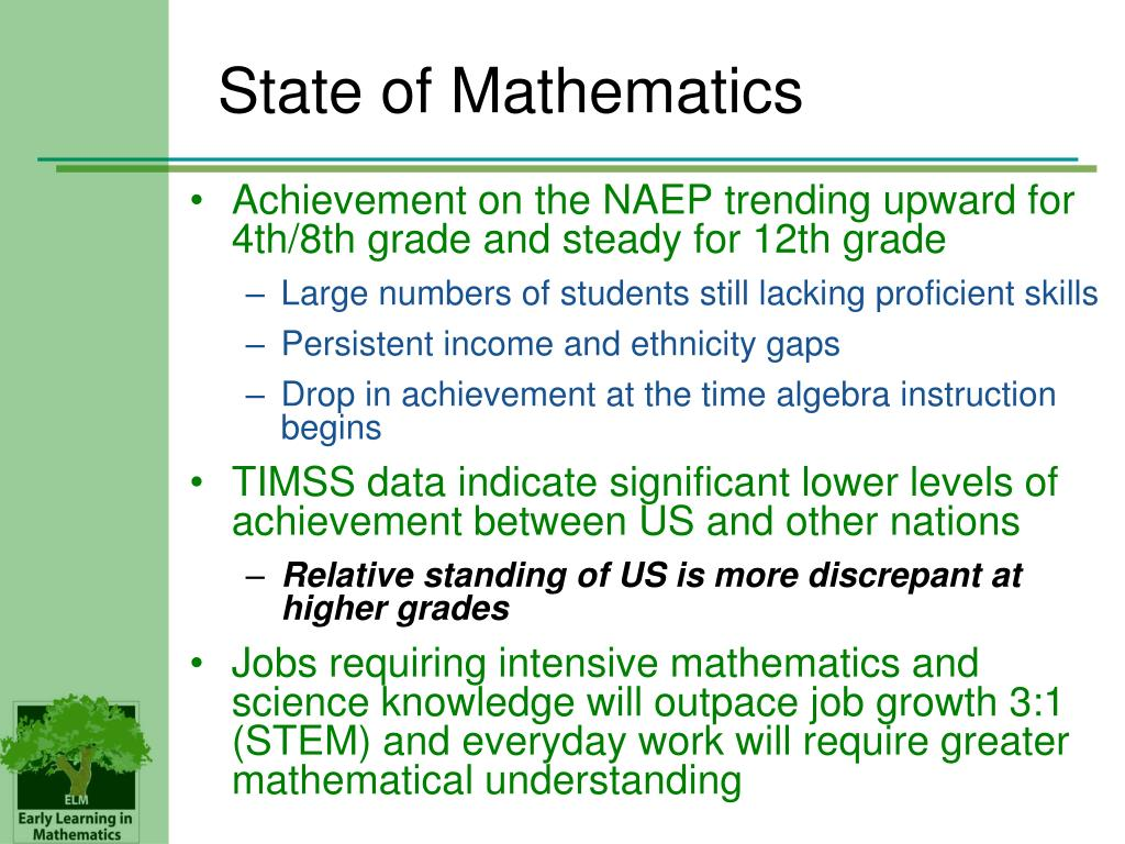 State of Mathematics