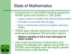 state of mathematics