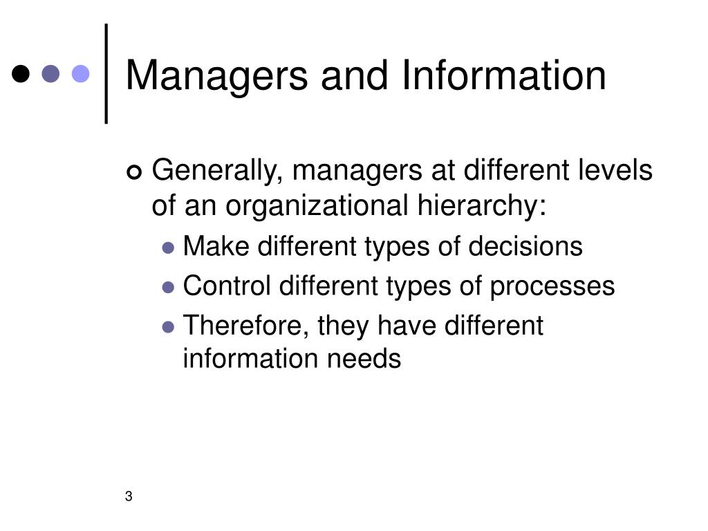 Managers and Information