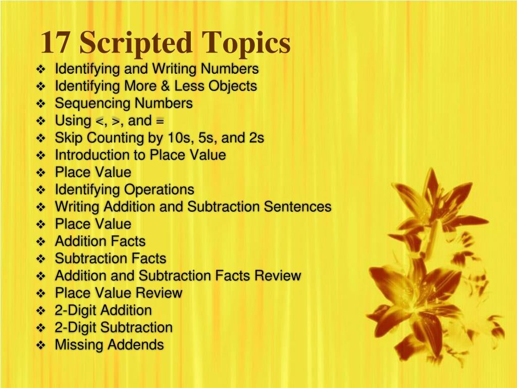 17 Scripted Topics