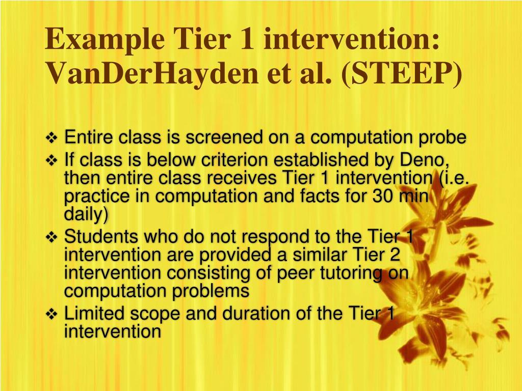 Example Tier 1 intervention: VanDerHayden et al. (STEEP)