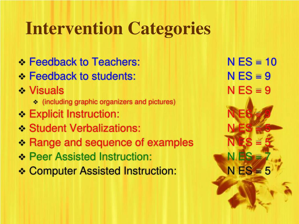 Intervention Categories