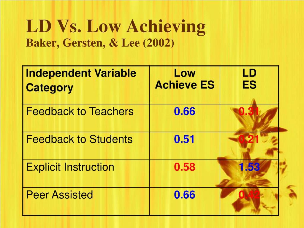 LD Vs. Low Achieving