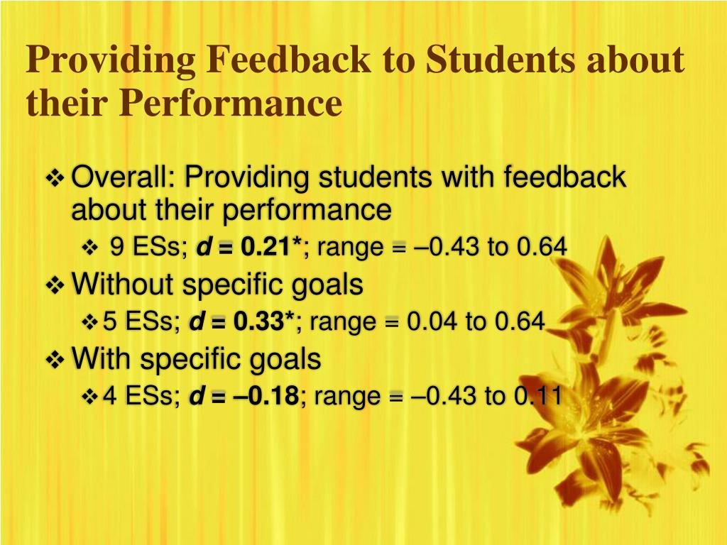 Providing Feedback to Students about their Performance