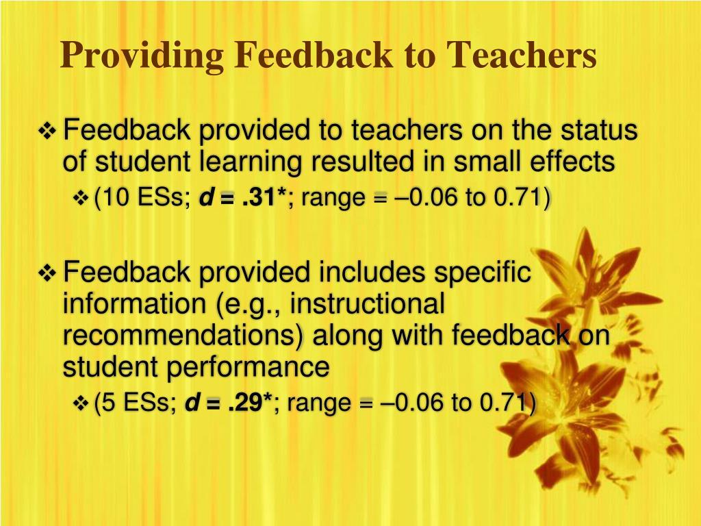 Providing Feedback to Teachers
