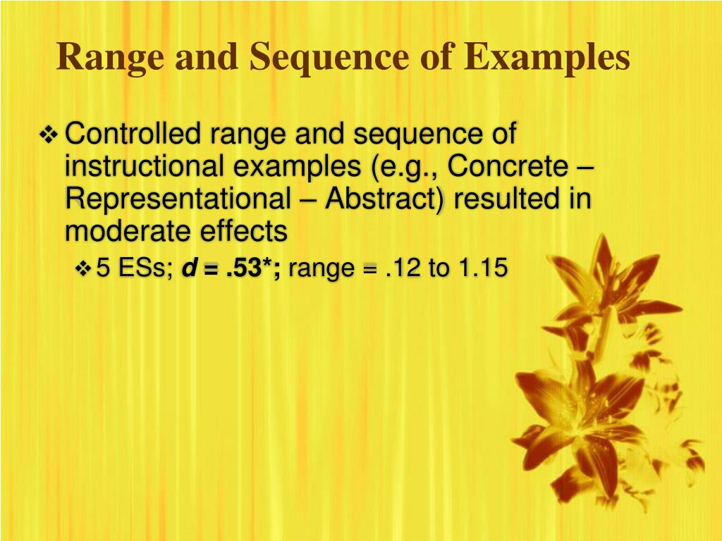 Range and Sequence of Examples
