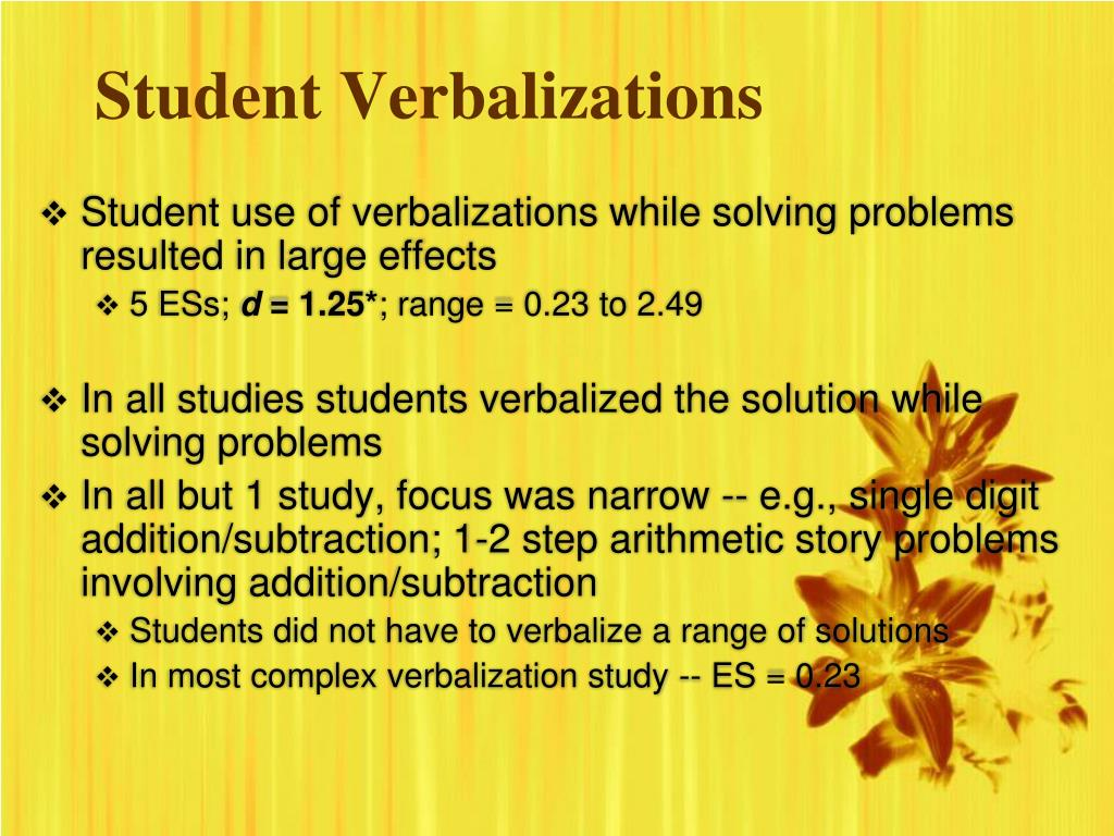 Student Verbalizations