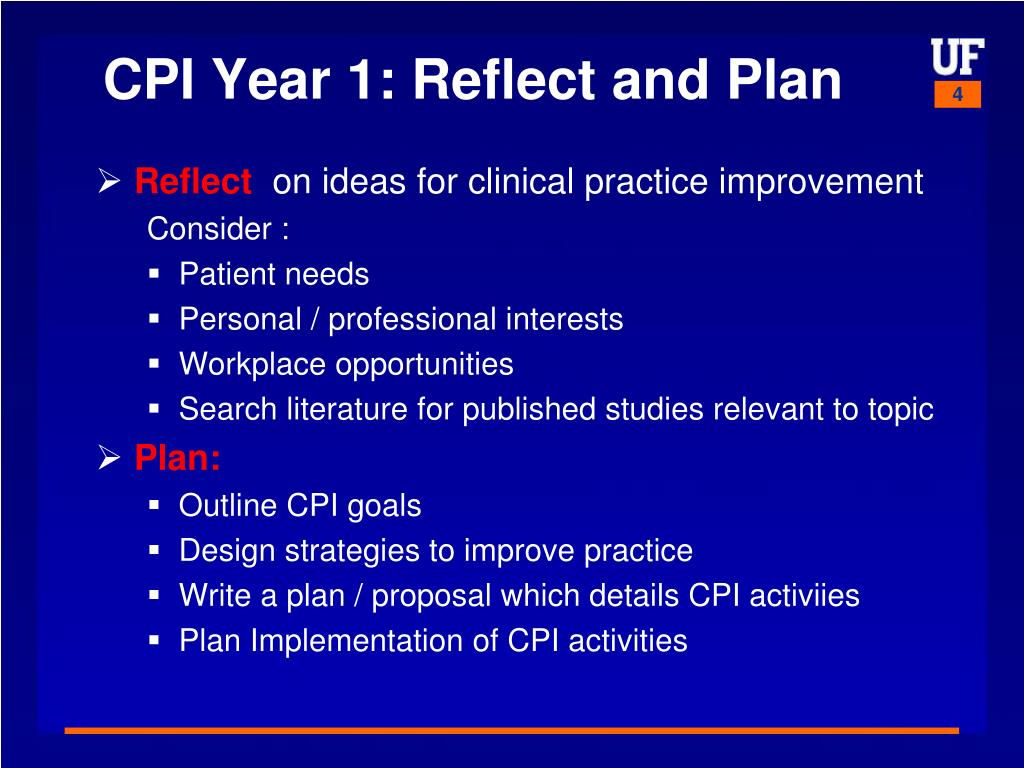 CPI Year 1: Reflect and Plan