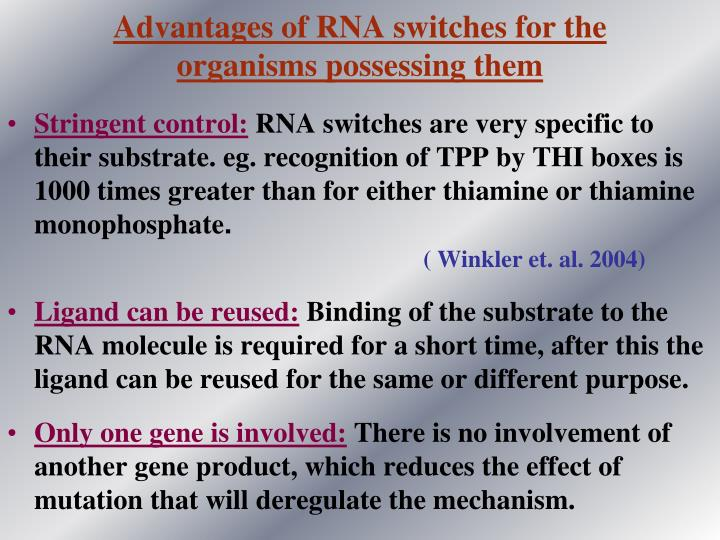 Advantages of RNA switches for the
