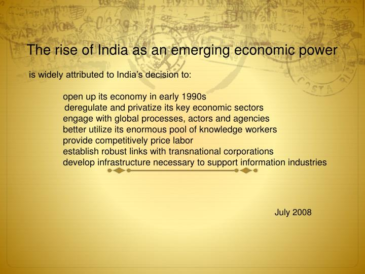 The rise of India as an emerging economic power