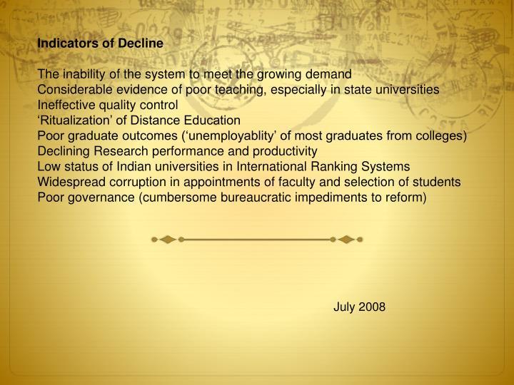 Indicators of Decline